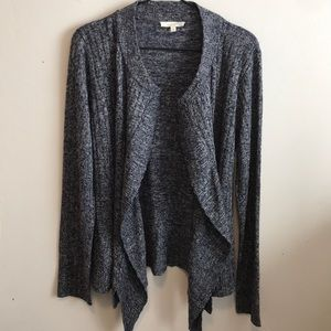 Mystree Navy/White Open front drapey cardigan